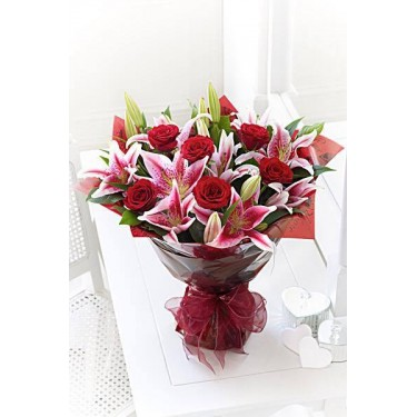 Red Rose & Lily hand Tied