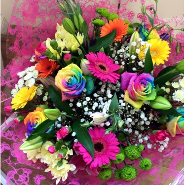 Vibrant Hand Tied with Rainbow Roses