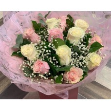 Blush Pink and White Rose Hand Tied