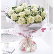 12 White roses hand tied