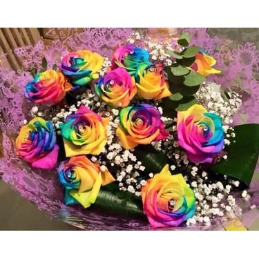 Rainbow Roses Hand Tied