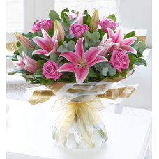 Pink Rose & Lily Hand Tied